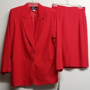 Sag Harbor Two Piece Red Jacket & Skirt Suit